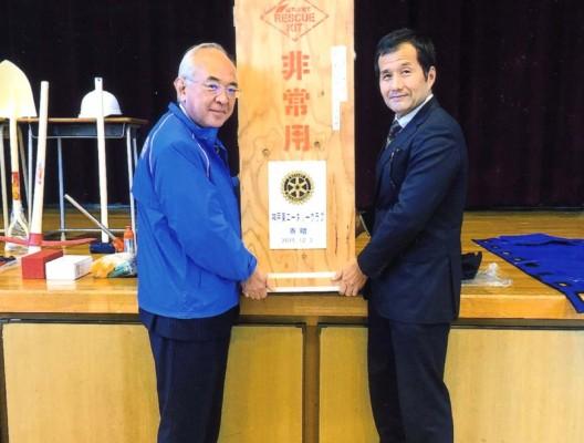 青陽東養護学校へ「非常災害時対応備品」を寄贈 2015.12.3